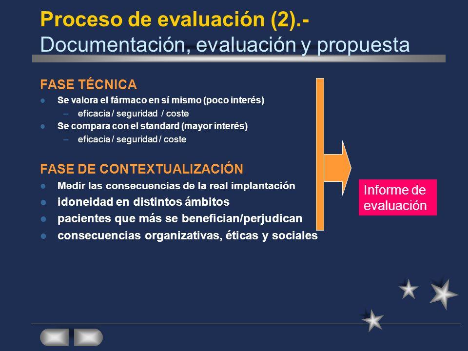 Proceso de evaluación (2).- Documentación, evaluación y propuesta FASE TÉCNICA Se valora el fármaco en sí mismo (poco interés) –eficacia / seguridad /