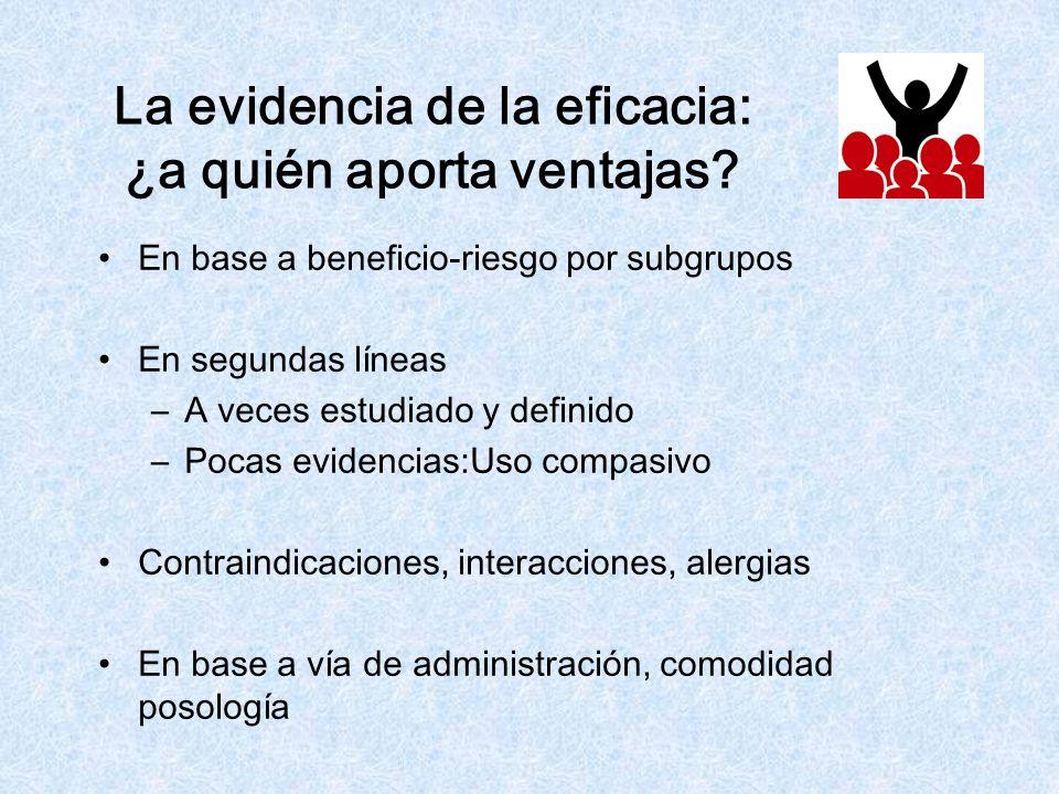 La evidencia de la eficacia: ¿a quién aporta ventajas? En base a beneficio-riesgo por subgrupos En segundas líneas –A veces estudiado y definido –Poca