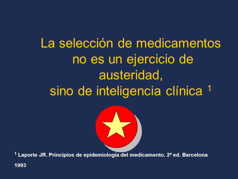 La selección de medicamentos no es un ejercicio de austeridad, sino de inteligencia clínica 1 1 Laporte JR.