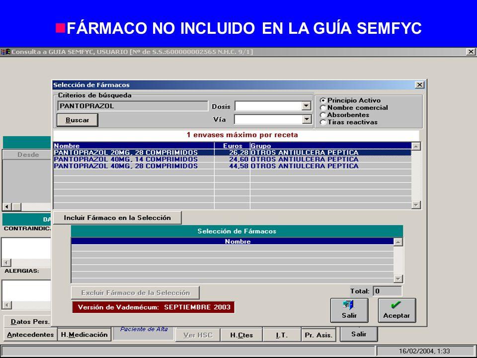 nFÁRMACO NO INCLUIDO EN LA GUÍA SEMFYC
