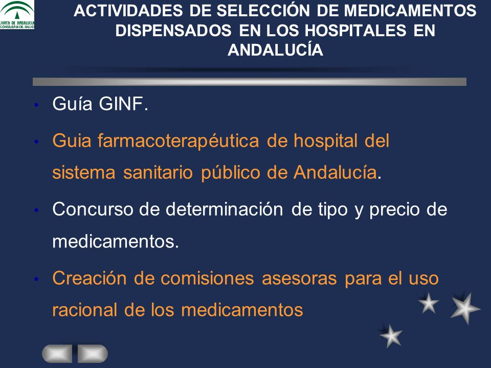 Guía GINF. Guia farmacoterapéutica de hospital del sistema sanitario público de Andalucía.