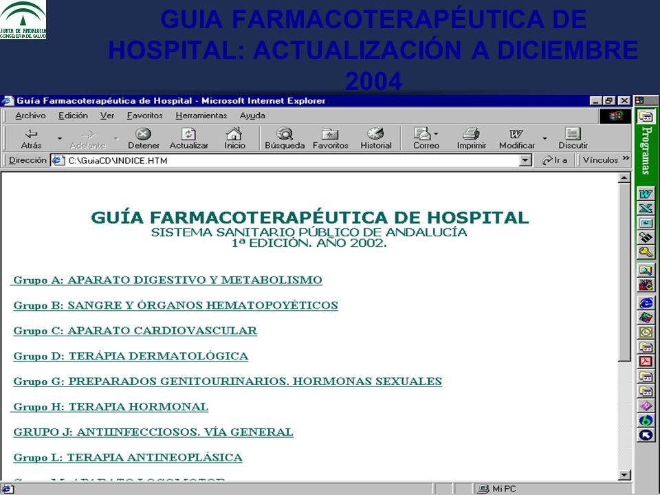 GUIA FARMACOTERAPÉUTICA DE HOSPITAL: ACTUALIZACIÓN A DICIEMBRE 2004