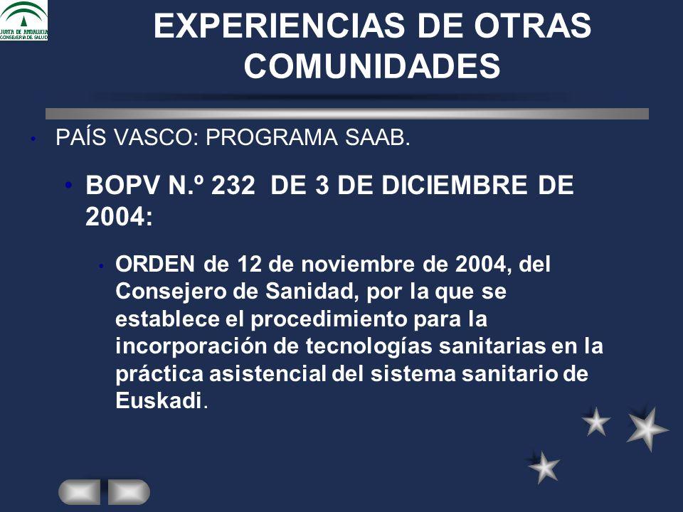 EXPERIENCIAS DE OTRAS COMUNIDADES PAÍS VASCO: PROGRAMA SAAB.
