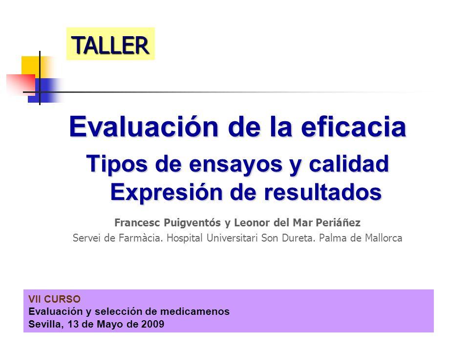 VII CURSO Evaluación y selección de medicamenos Sevilla, 13 de Mayo de 2009 Evaluación de la eficacia Tipos de ensayos y calidad Expresión de resultad