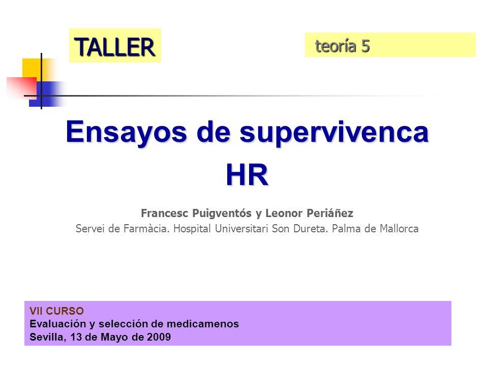 VII CURSO Evaluación y selección de medicamenos Sevilla, 13 de Mayo de 2009 Ensayos de supervivenca HR Francesc Puigventós y Leonor Periáñez Servei de