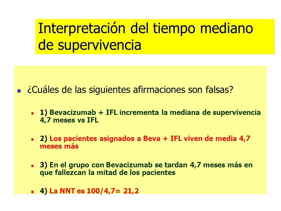 Interpretación del tiempo mediano de supervivencia ¿Cuáles de las siguientes afirmaciones son falsas? 1) Bevacizumab + IFL incrementa la mediana de su