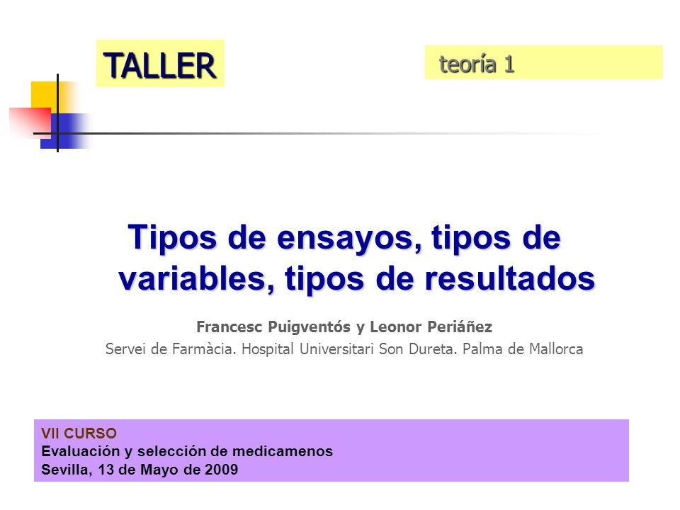VII CURSO Evaluación y selección de medicamenos Sevilla, 13 de Mayo de 2009 Tipos de ensayos, tipos de variables, tipos de resultados Francesc Puigven