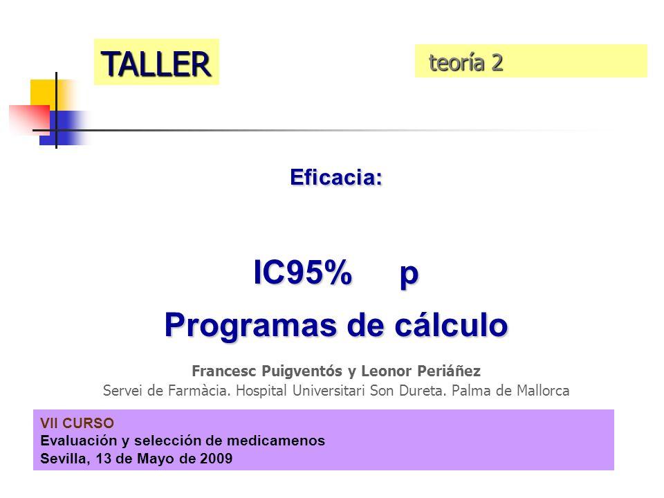 VII CURSO Evaluación y selección de medicamenos Sevilla, 13 de Mayo de 2009 Eficacia: IC95% p Programas de cálculo Francesc Puigventós y Leonor Periáñ