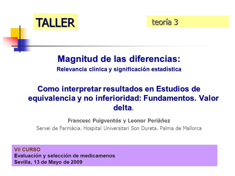 VII CURSO Evaluación y selección de medicamenos Sevilla, 13 de Mayo de 2009 Magnitud de las diferencias: Relevancia clínica y significación estadístic