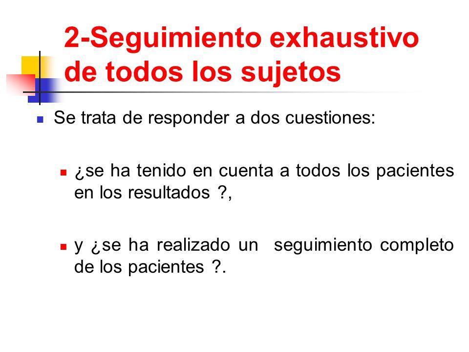 2-Seguimiento exhaustivo de todos los sujetos Se trata de responder a dos cuestiones: ¿se ha tenido en cuenta a todos los pacientes en los resultados