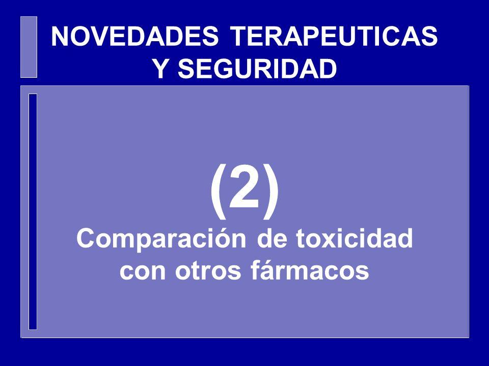 NOVEDADES TERAPEUTICAS Y SEGURIDAD (2) Comparación de toxicidad con otros fármacos