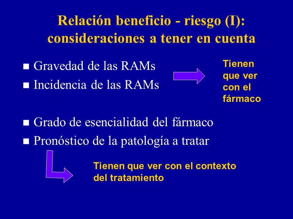 Relación beneficio - riesgo (I): consideraciones a tener en cuenta n Gravedad de las RAMs n Incidencia de las RAMs n Grado de esencialidad del fármaco