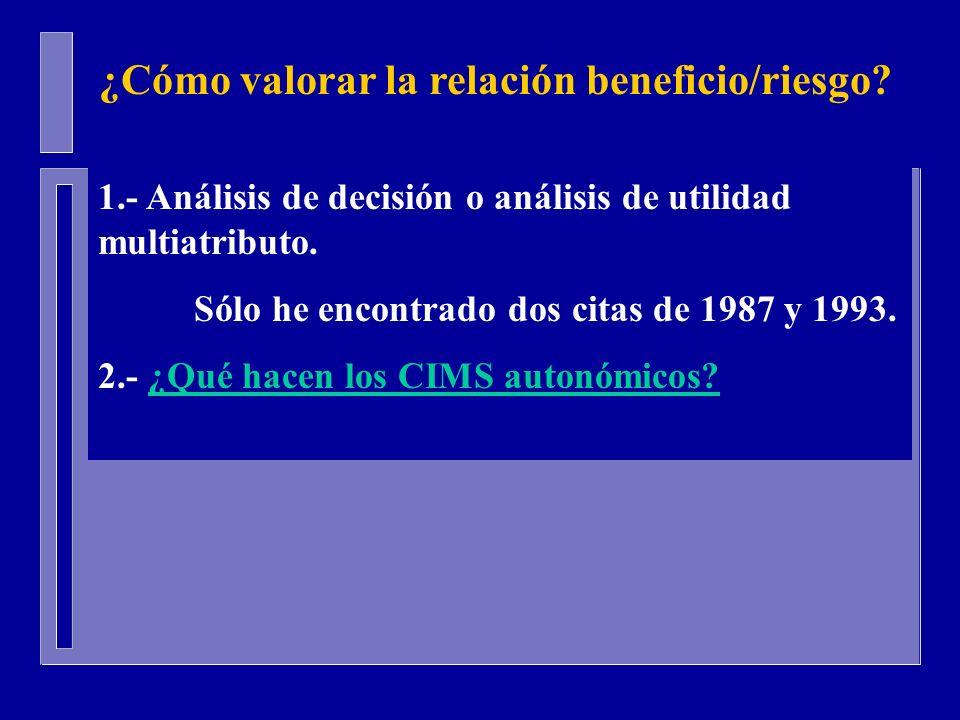 1.- Análisis de decisión o análisis de utilidad multiatributo. Sólo he encontrado dos citas de 1987 y 1993. 2.- ¿Qué hacen los CIMS autonómicos?¿Qué h