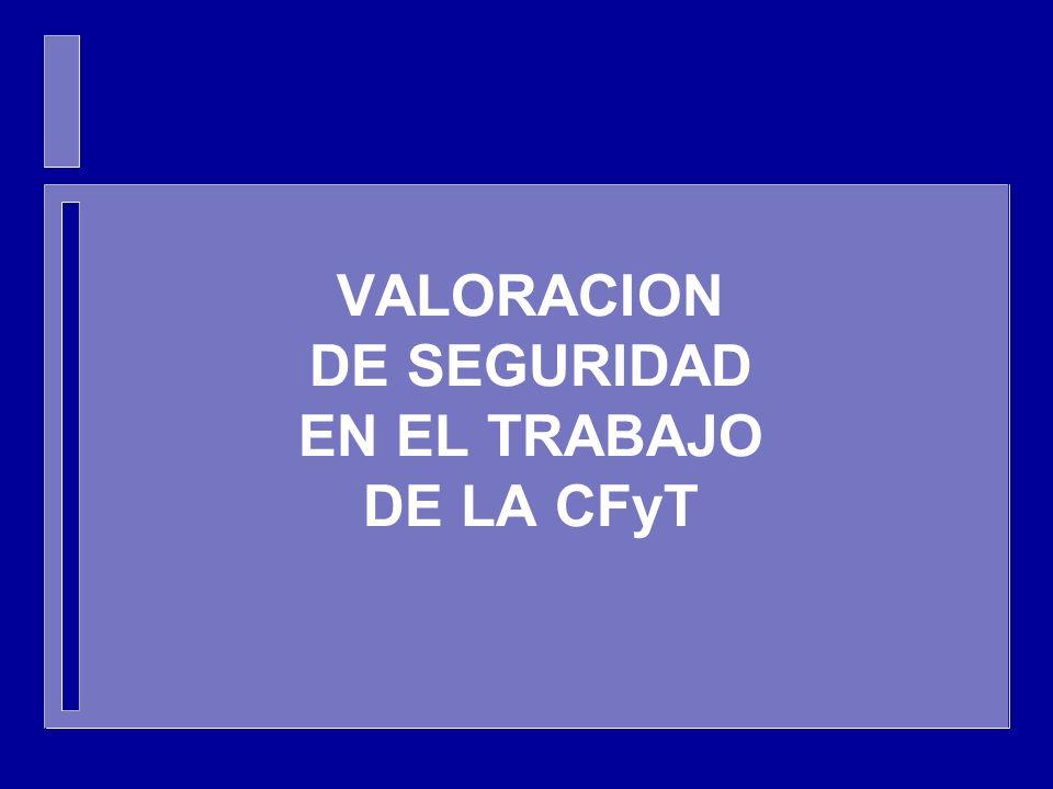 VALORACION DE SEGURIDAD EN EL TRABAJO DE LA CFyT