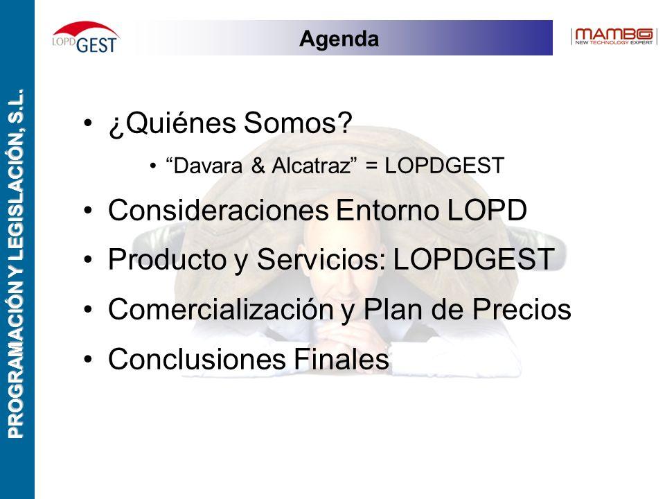 PROGRAMACIÓN Y LEGISLACIÓN, S.L. Agenda ¿Quiénes Somos.