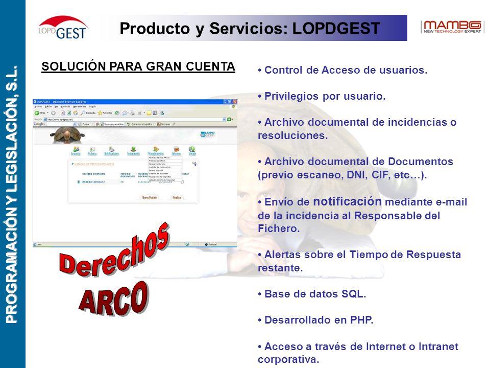 PROGRAMACIÓN Y LEGISLACIÓN, S.L. SOLUCIÓN PARA GRAN CUENTA Control de Acceso de usuarios.