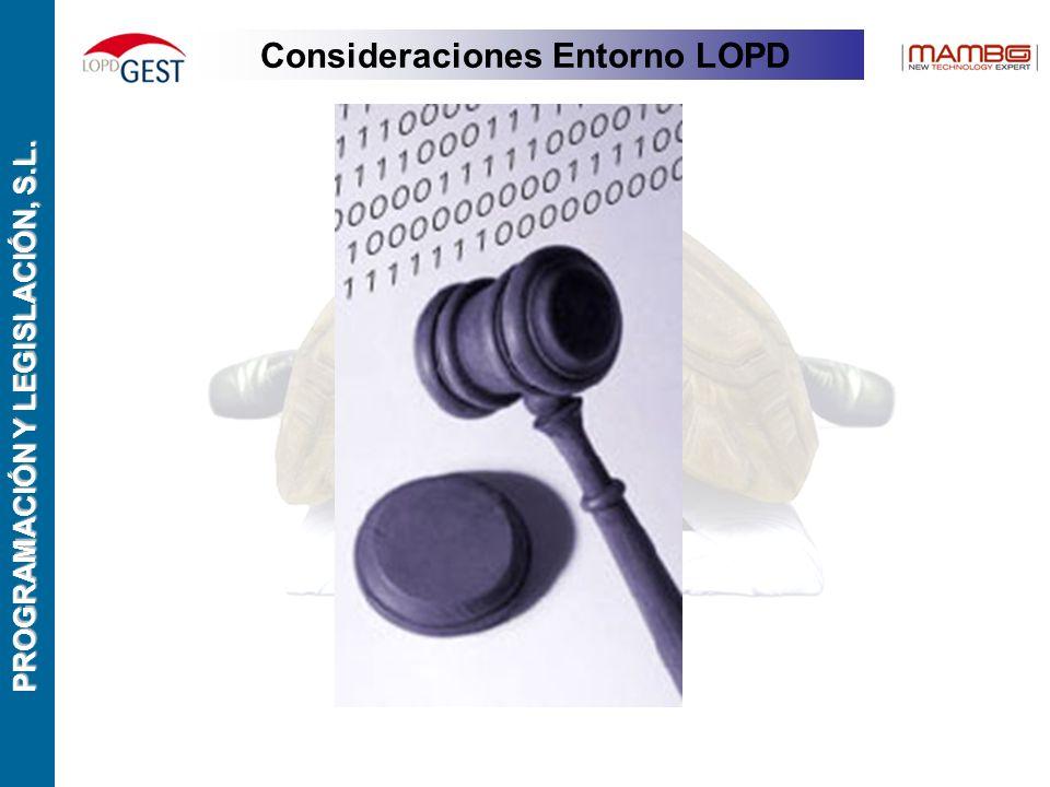 PROGRAMACIÓN Y LEGISLACIÓN, S.L. Consideraciones Entorno LOPD