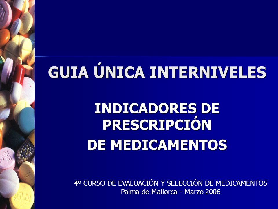 GUIA ÚNICA INTERNIVELES INDICADORES DE PRESCRIPCIÓN DE MEDICAMENTOS 4º CURSO DE EVALUACIÓN Y SELECCIÓN DE MEDICAMENTOS Palma de Mallorca – Marzo 2006