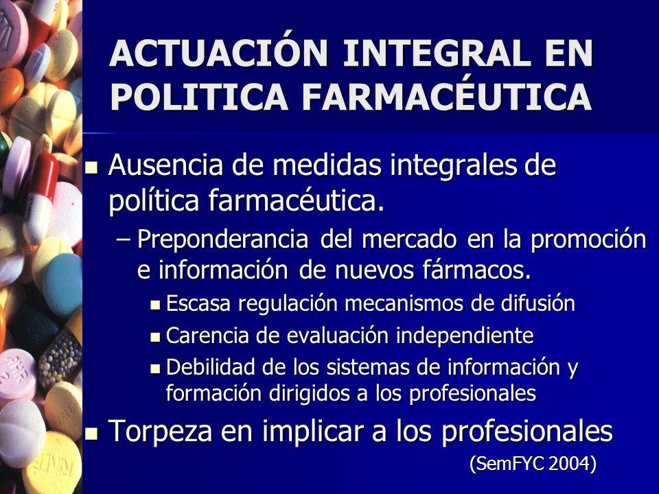 ACTUACIÓN INTEGRAL EN POLITICA FARMACÉUTICA Ausencia de medidas integrales de política farmacéutica. Ausencia de medidas integrales de política farmac