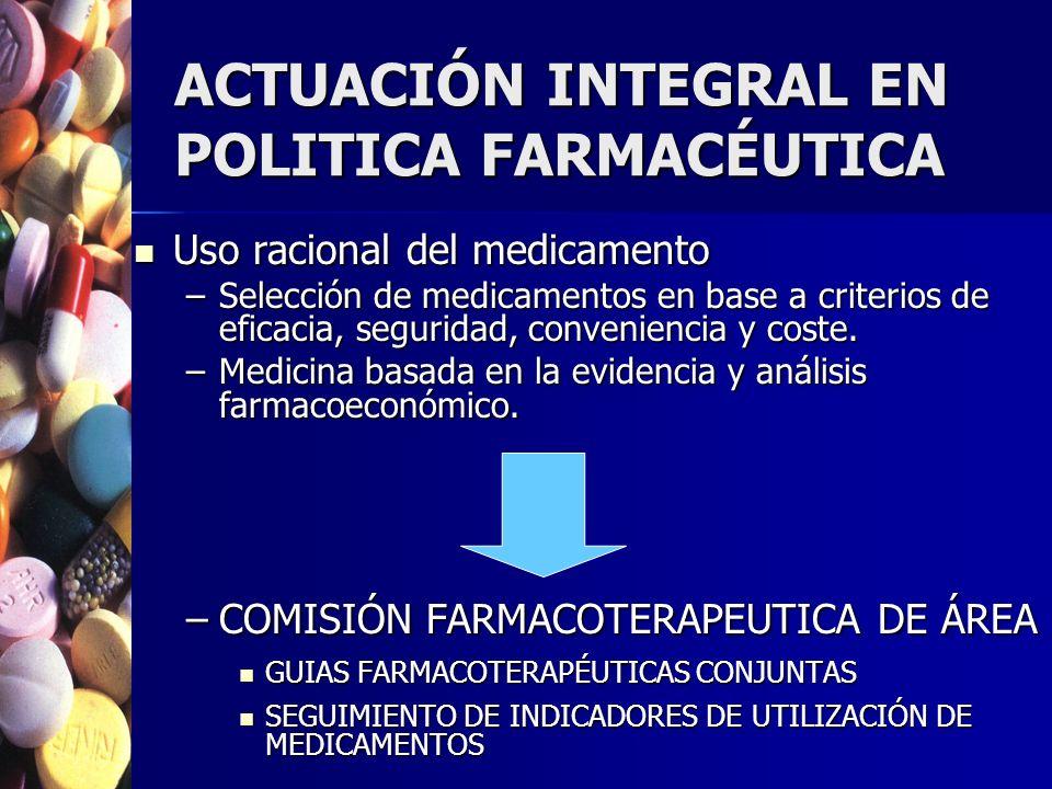ACTUACIÓN INTEGRAL EN POLITICA FARMACÉUTICA Uso racional del medicamento Uso racional del medicamento –Selección de medicamentos en base a criterios de eficacia, seguridad, conveniencia y coste.