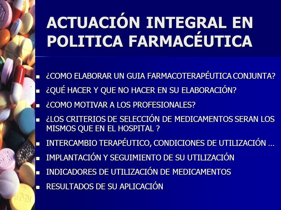 ACTUACIÓN INTEGRAL EN POLITICA FARMACÉUTICA ¿COMO ELABORAR UN GUIA FARMACOTERAPÉUTICA CONJUNTA.