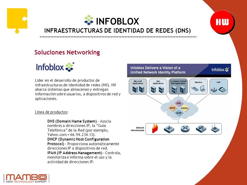 INFOBLOX INFRAESTRUCTURAS DE IDENTIDAD DE REDES (DNS) Soluciones Networking Líder en el desarrollo de productos de infraestructuras de identidad de redes (NII).