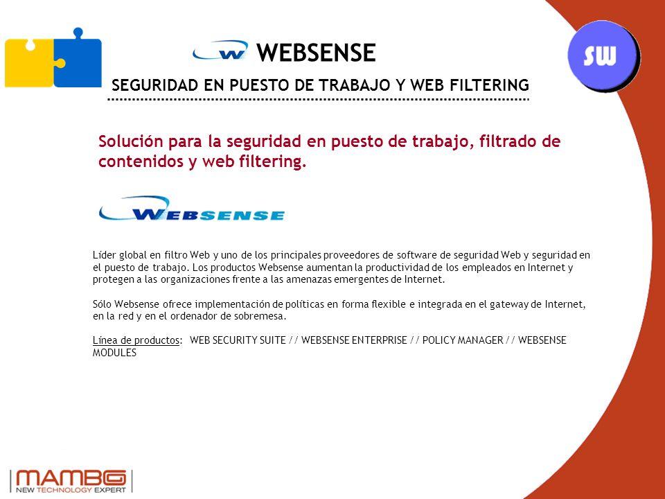 WEBSENSE SEGURIDAD EN PUESTO DE TRABAJO Y WEB FILTERING Solución para la seguridad en puesto de trabajo, filtrado de contenidos y web filtering.