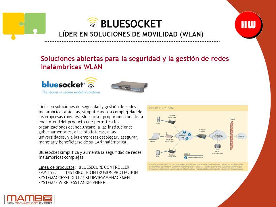 BLUESOCKET LÍDER EN SOLUCIONES DE MOVILIDAD (WLAN) Soluciones abiertas para la seguridad y la gestión de redes inalámbricas WLAN Líder en soluciones de seguridad y gestión de redes inalámbricas abiertas, simplificando la complejidad de las empresas móviles.