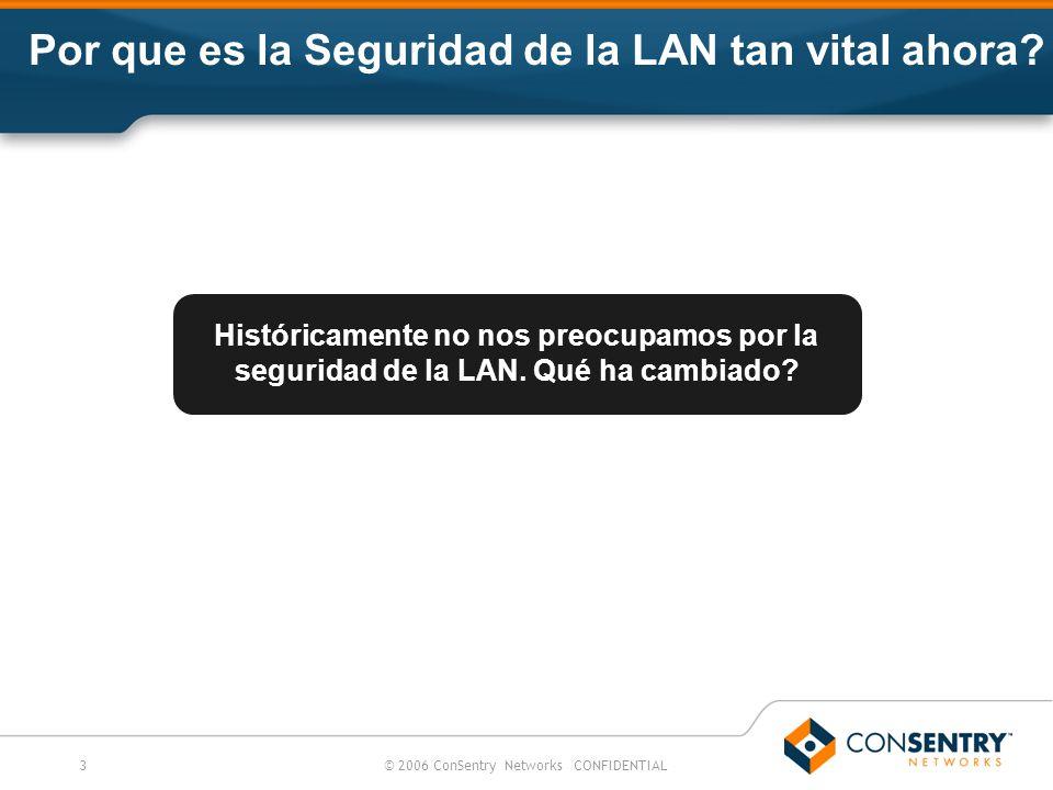 3© 2006 ConSentry Networks CONFIDENTIAL Históricamente no nos preocupamos por la seguridad de la LAN. Qué ha cambiado? Por que es la Seguridad de la L