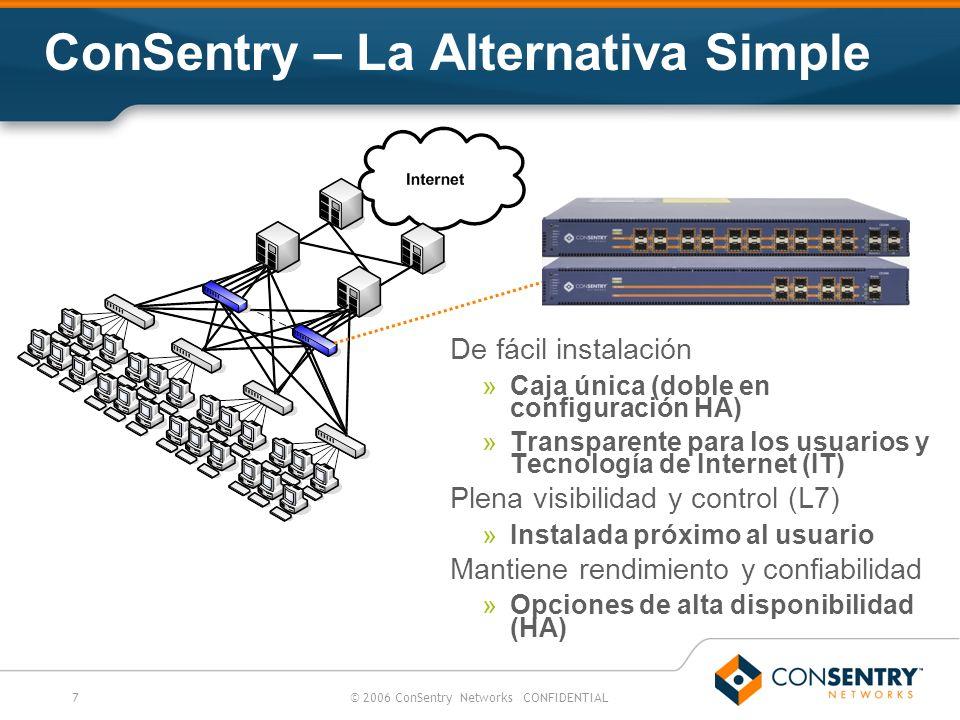 7© 2006 ConSentry Networks CONFIDENTIAL ConSentry – La Alternativa Simple De fácil instalación »Caja única (doble en configuración HA) »Transparente p