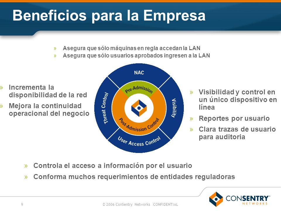 9© 2006 ConSentry Networks CONFIDENTIAL Beneficios para la Empresa »Asegura que sólo máquinas en regla accedan la LAN »Asegura que sólo usuarios aprob