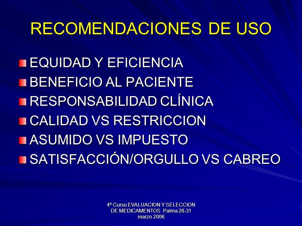 4º Curso EVALUACION Y SELECCION DE MEDICAMENTOS Palma 28-31 marzo 2006 RECOMENDACIONES DE USO EQUIDAD Y EFICIENCIA BENEFICIO AL PACIENTE RESPONSABILIDAD CLÍNICA CALIDAD VS RESTRICCION ASUMIDO VS IMPUESTO SATISFACCIÓN/ORGULLO VS CABREO