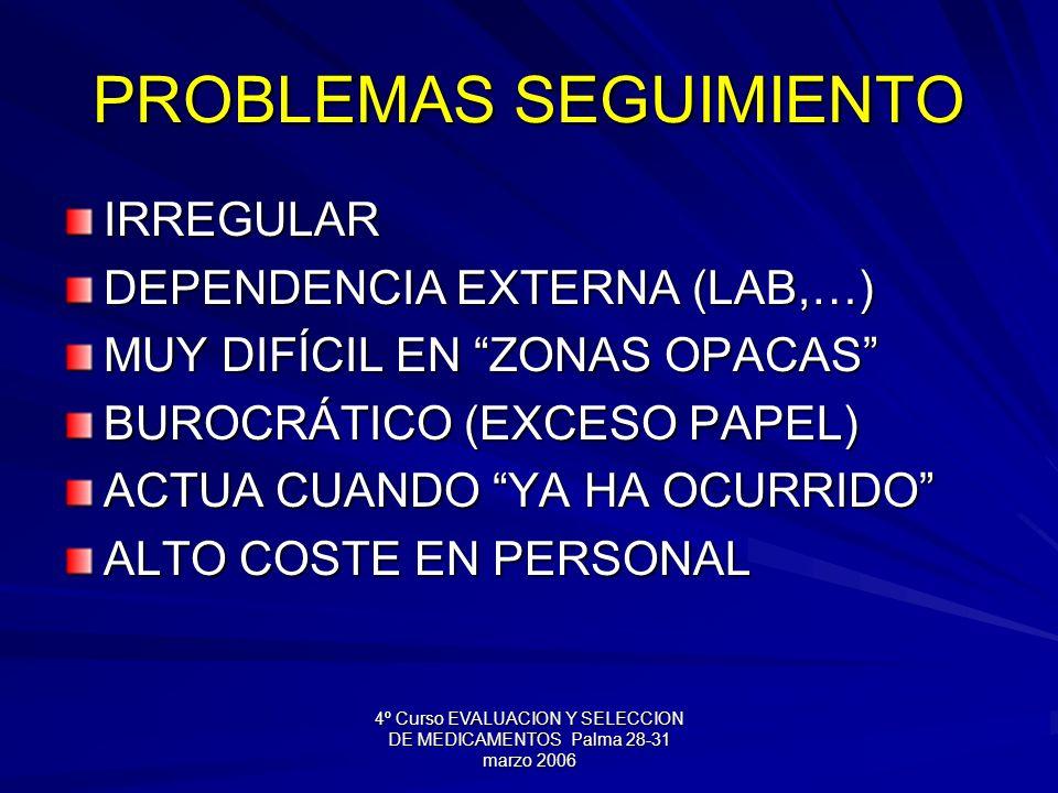 4º Curso EVALUACION Y SELECCION DE MEDICAMENTOS Palma 28-31 marzo 2006 PROBLEMAS SEGUIMIENTO IRREGULAR DEPENDENCIA EXTERNA (LAB,…) MUY DIFÍCIL EN ZONAS OPACAS BUROCRÁTICO (EXCESO PAPEL) ACTUA CUANDO YA HA OCURRIDO ALTO COSTE EN PERSONAL