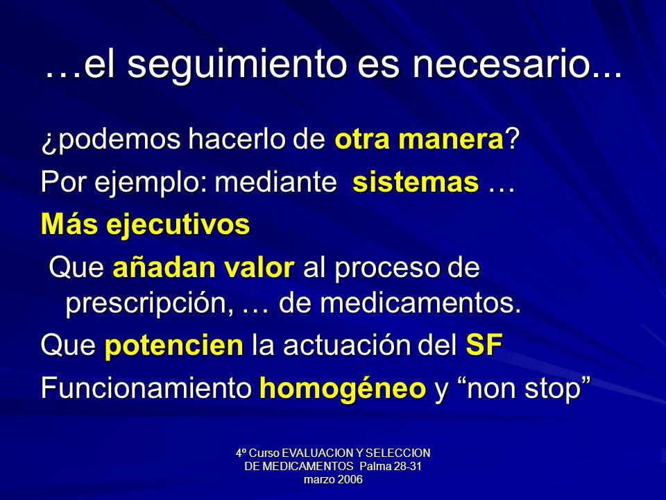 4º Curso EVALUACION Y SELECCION DE MEDICAMENTOS Palma 28-31 marzo 2006 …el seguimiento es necesario... ¿podemos hacerlo de otra manera? Por ejemplo: m