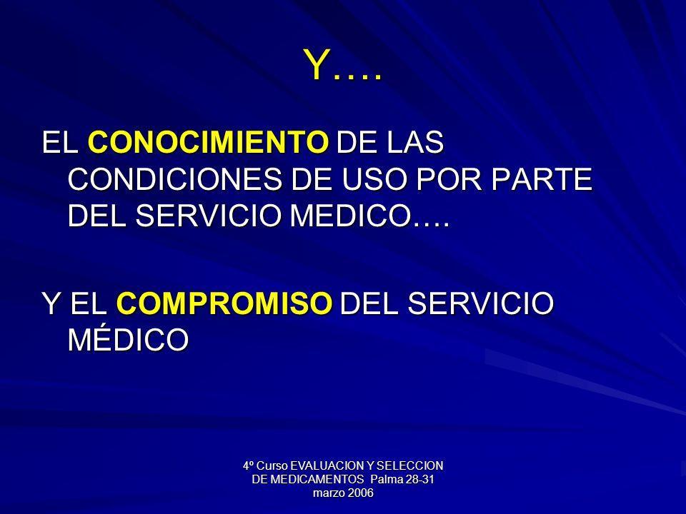 4º Curso EVALUACION Y SELECCION DE MEDICAMENTOS Palma 28-31 marzo 2006 Y…. EL CONOCIMIENTO DE LAS CONDICIONES DE USO POR PARTE DEL SERVICIO MEDICO…. Y