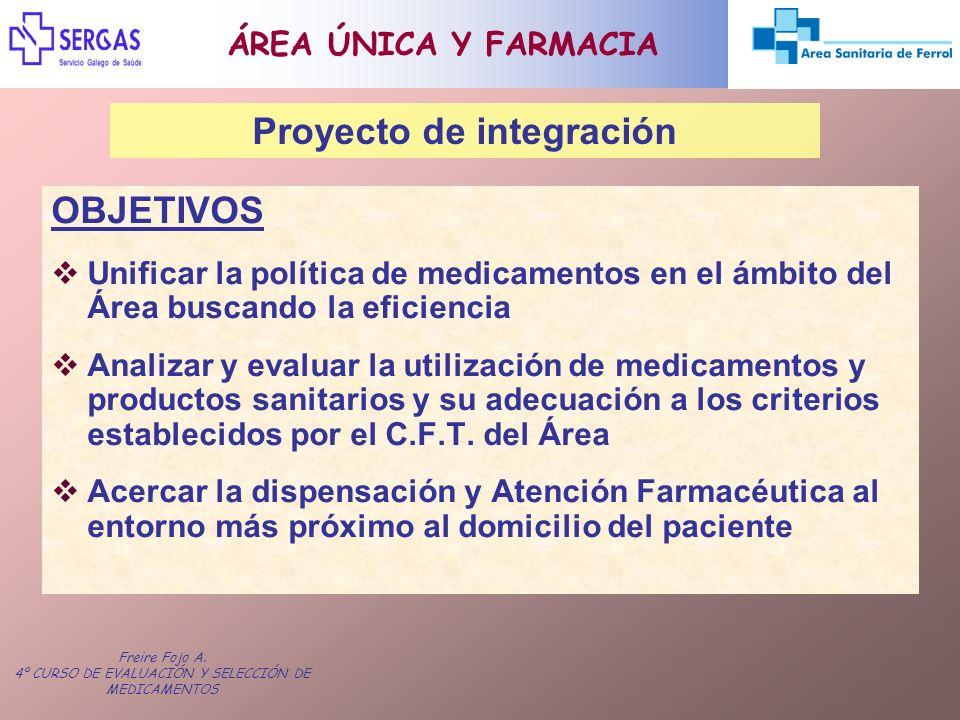 Freire Fojo A. 4º CURSO DE EVALUACIÓN Y SELECCIÓN DE MEDICAMENTOS OBJETIVOS Unificar la política de medicamentos en el ámbito del Área buscando la efi