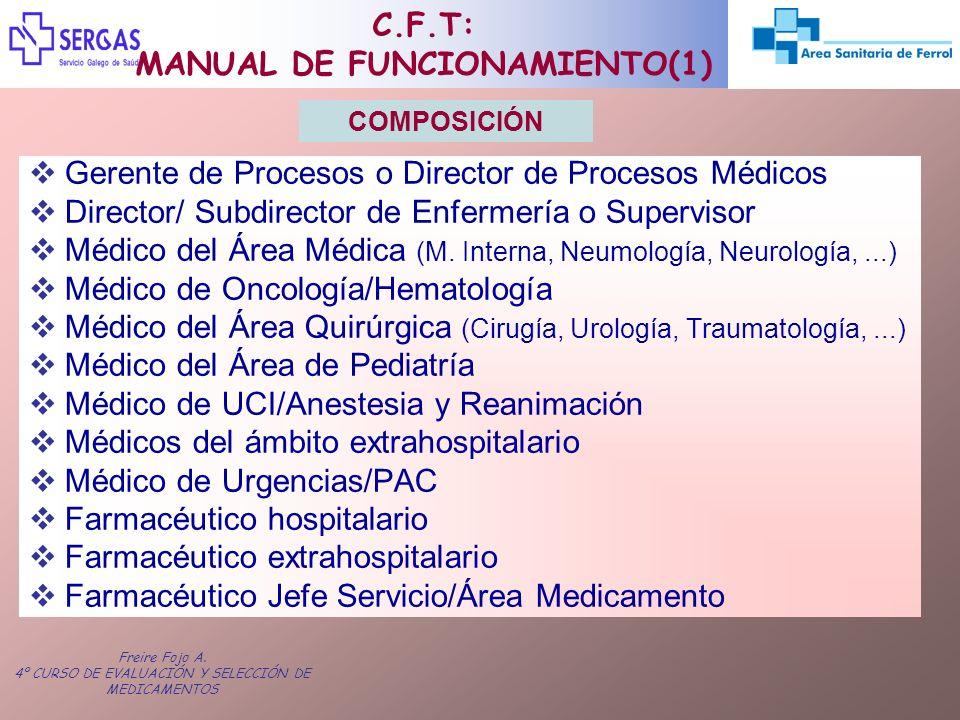 Freire Fojo A. 4º CURSO DE EVALUACIÓN Y SELECCIÓN DE MEDICAMENTOS C.F.T: MANUAL DE FUNCIONAMIENTO(1) Gerente de Procesos o Director de Procesos Médico