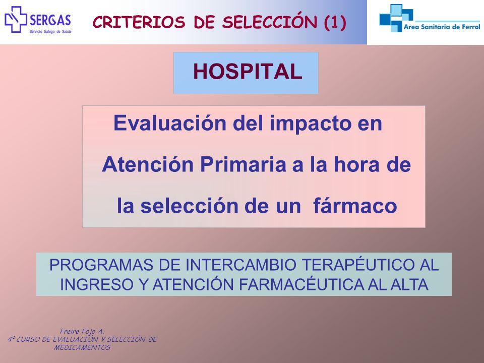 Freire Fojo A. 4º CURSO DE EVALUACIÓN Y SELECCIÓN DE MEDICAMENTOS HOSPITAL Evaluación del impacto en Atención Primaria a la hora de la selección de un