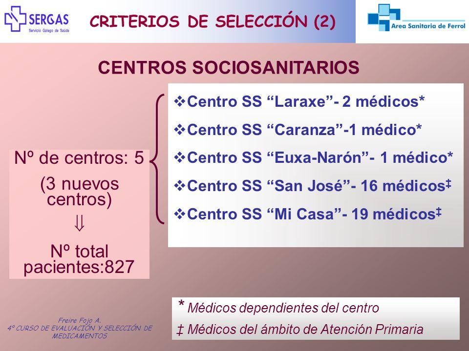 Freire Fojo A. 4º CURSO DE EVALUACIÓN Y SELECCIÓN DE MEDICAMENTOS CRITERIOS DE SELECCIÓN (2) CENTROS SOCIOSANITARIOS Centro SS Laraxe- 2 médicos* Cent