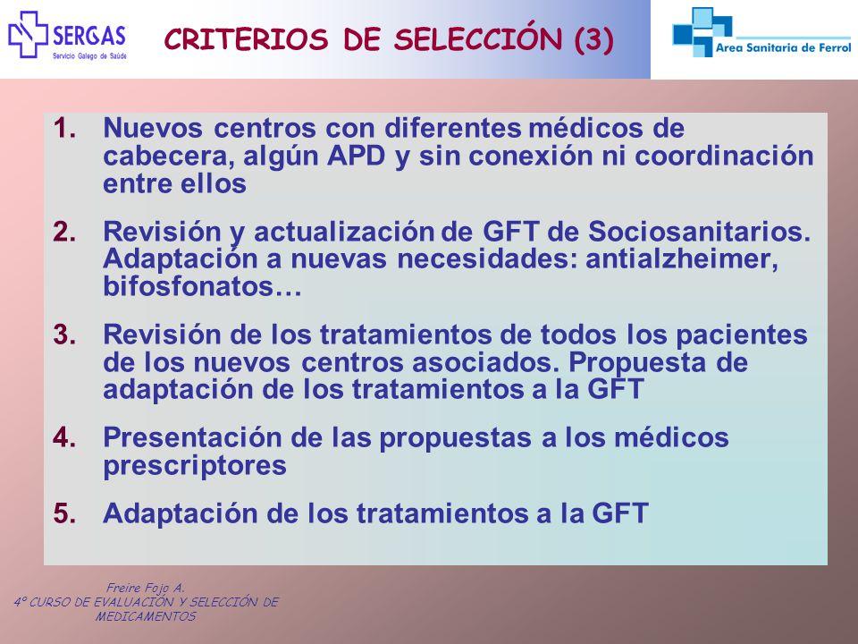 Freire Fojo A. 4º CURSO DE EVALUACIÓN Y SELECCIÓN DE MEDICAMENTOS 1.Nuevos centros con diferentes médicos de cabecera, algún APD y sin conexión ni coo