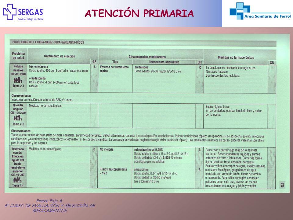 Freire Fojo A. 4º CURSO DE EVALUACIÓN Y SELECCIÓN DE MEDICAMENTOS ATENCIÓN PRIMARIA
