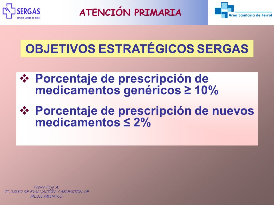 Freire Fojo A. 4º CURSO DE EVALUACIÓN Y SELECCIÓN DE MEDICAMENTOS ATENCIÓN PRIMARIA OBJETIVOS ESTRATÉGICOS SERGAS Porcentaje de prescripción de medica