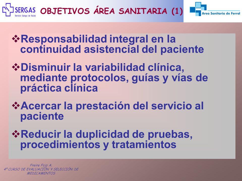 Freire Fojo A. 4º CURSO DE EVALUACIÓN Y SELECCIÓN DE MEDICAMENTOS OBJETIVOS ÁREA SANITARIA (1) Responsabilidad integral en la continuidad asistencial
