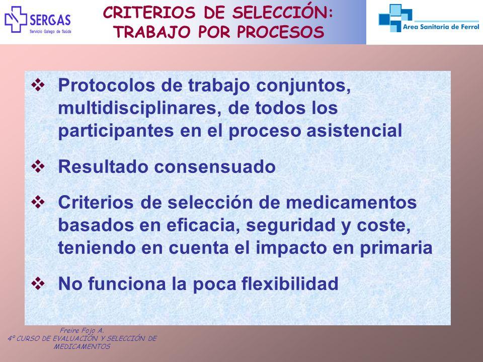 Freire Fojo A. 4º CURSO DE EVALUACIÓN Y SELECCIÓN DE MEDICAMENTOS Protocolos de trabajo conjuntos, multidisciplinares, de todos los participantes en e