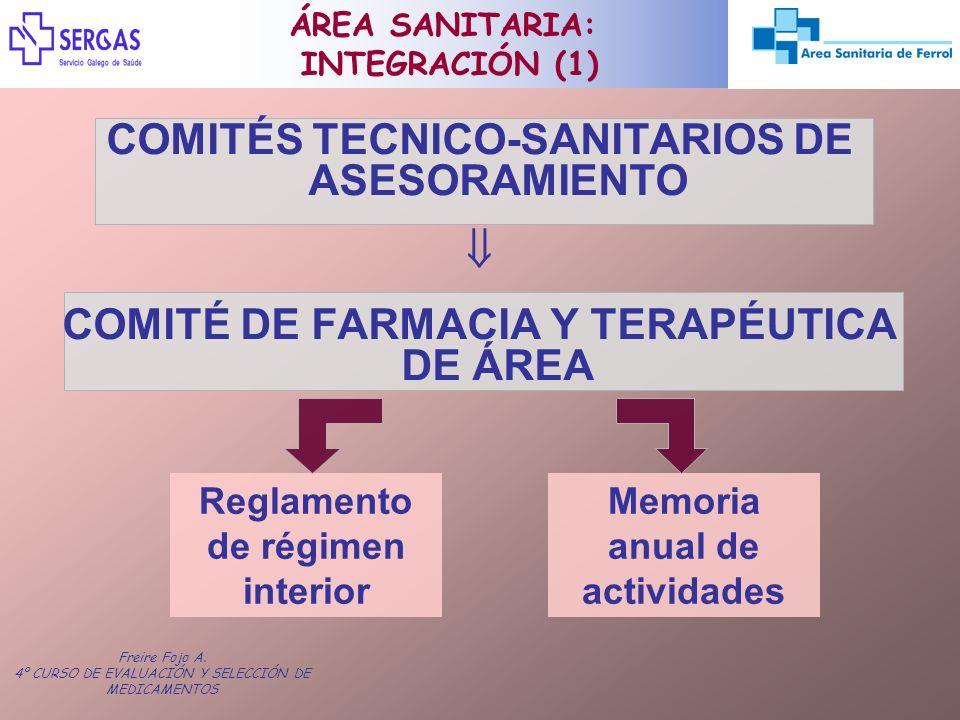 Freire Fojo A. 4º CURSO DE EVALUACIÓN Y SELECCIÓN DE MEDICAMENTOS COMITÉS TECNICO-SANITARIOS DE ASESORAMIENTO COMITÉ DE FARMACIA Y TERAPÉUTICA DE ÁREA