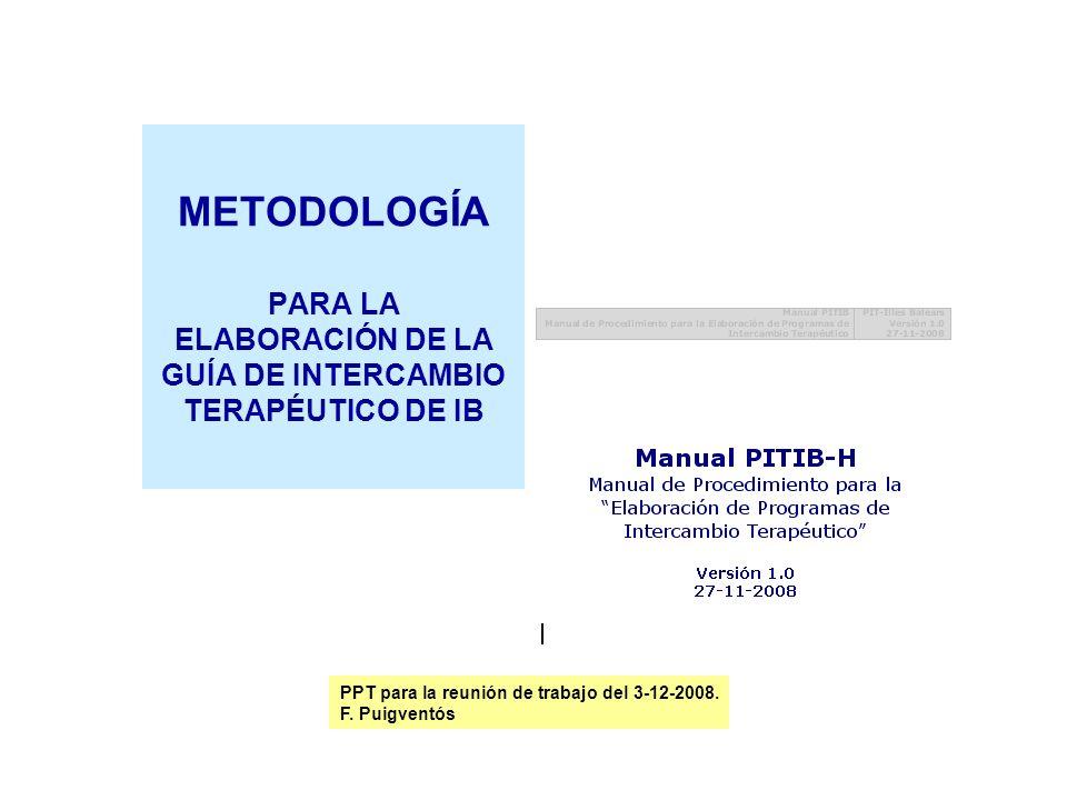 METODOLOGÍA PARA LA ELABORACIÓN DE LA GUÍA DE INTERCAMBIO TERAPÉUTICO DE IB PPT para la reunión de trabajo del 3-12-2008. F. Puigventós