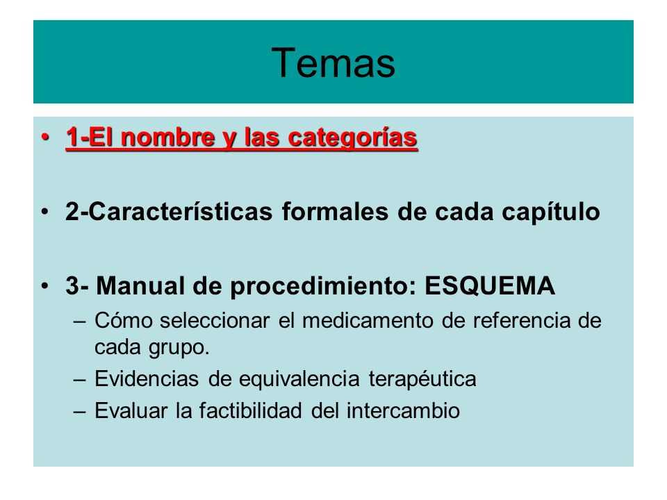 Temas 1-El nombre y las categorías1-El nombre y las categorías 2-Características formales de cada capítulo 3- Manual de procedimiento: ESQUEMA –Cómo s