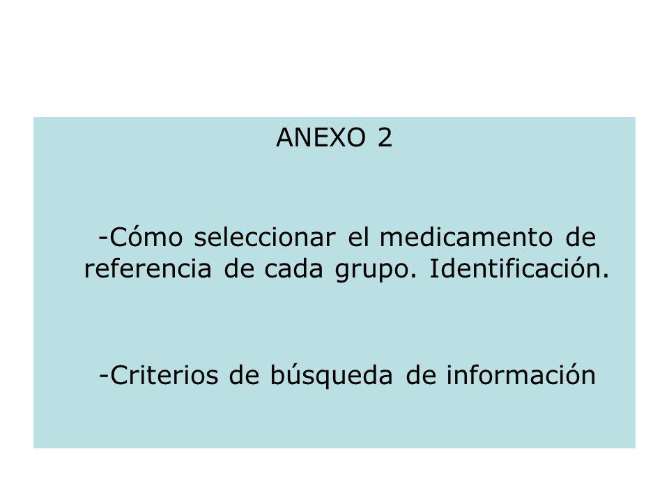 ANEXO 2 -Cómo seleccionar el medicamento de referencia de cada grupo. Identificación. -Criterios de búsqueda de información