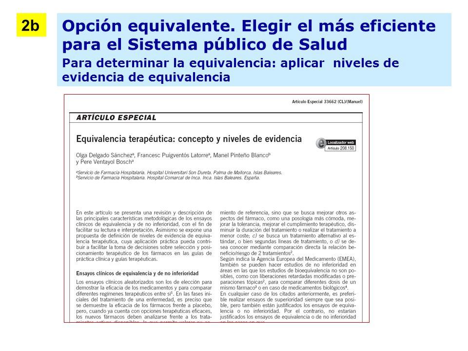 Opción equivalente. Elegir el más eficiente para el Sistema público de Salud Para determinar la equivalencia: aplicar niveles de evidencia de equivale