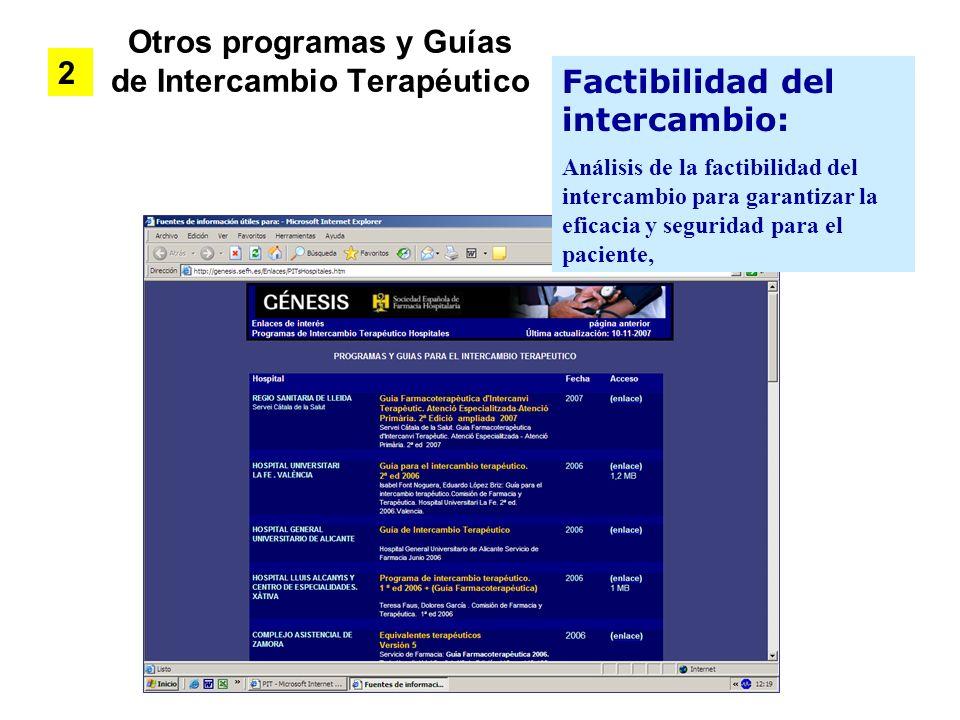 Otros programas y Guías de Intercambio Terapéutico 2 Factibilidad del intercambio: Análisis de la factibilidad del intercambio para garantizar la efic